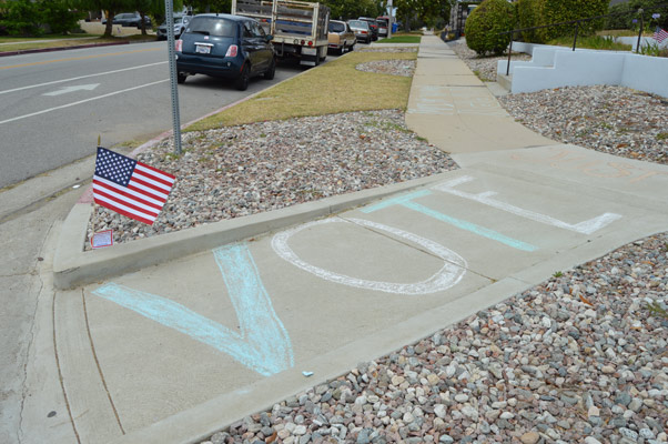 Government Affairs Vote written in sidewalk chalk on sidewalk